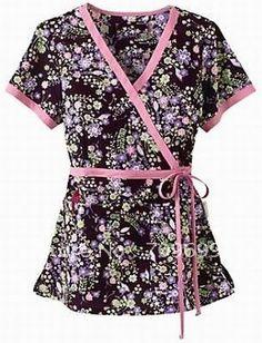 Women's Print Mock Wrap Scrub Top Nurse Uniform Nursing Clothes Wholesale Free Shipping 100%Cotton XS-4XL OL N1045 on AliExpress.com. $594.50