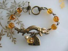 Branch Honey Bee Bracelet Bee Bracelet Amber by CharmedValley