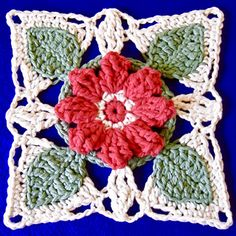 This pretty flower block features pops of coloured petals, unique textured leaves and a lovely lace join. It is the main block for the Love Blooms Throw. The throw also has a lovely matching lace edging.
