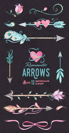 Romantic Arrows Watercolor Clipart. 12 Hand painted elements, feathers…