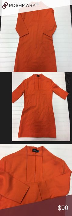 Kate Spade Saturday Orange Dress Square Neckline Gorgeous Kate Spade Saturday dress! Your perfect spring/summer. Orange color with a rectangular neckline, mini dress. Thick and smooth fabric. Used but in good condition. kate spade Dresses Mini