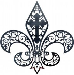 fleur de lis combined with a crucifix tattoo at DuckDuckGo Diy Tattoo, Tattoo Ideas, Cross Purposes, Celtic, Illustration Tattoo, Embroidery Designs, Gothic, Finger Tats, Clip Art