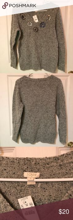 J crew donegal sweater Gray v neck sweater with jeweled neckline. From factory. One of the stones is a little loose J. Crew Sweaters