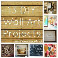 13 DIY Wall Art Projects for 2013  - love these ideas!!
