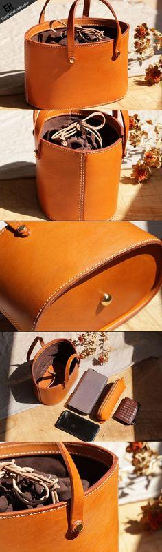 Handmade Leather bucket bag shopper bag for women leather #purses #handbags