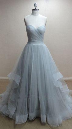 Princess A line Sweetheart Tulle Prom Dress Long/Evening Dress/Formal Dress/Wedding Dress/Graduation/Cheap/Fashion/Plus size/Custom...