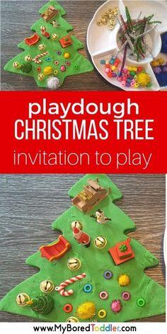 A Christmas playdough invitation to play.  A fun toddler Christmas activity using playdough. An easy Chrismtas activity for 1 year olds, 3 year olds and 3 year olds. Great for toddlers and preschoolers. #playdough #invitationtoplay #toddleractivity