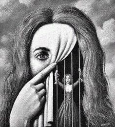 art surrealista To me this art is saying that you show one thing but feel another. you can show happiness but still feel caged in with nobody to turn or talk to about your feelings. Arte Obscura, Gcse Art, Surreal Art, Art Inspo, Art Sketches, Tattoo Sketches, Amazing Art, Awesome, Cool Art