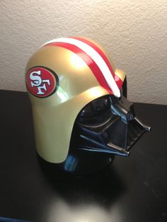 Father and son Star Wars Room, Star Wars Decor, Vader Helmet, Nfl, San Francisco 49ers, Boyfriend Gifts, Football Helmets, Man Cave, Hand Painted