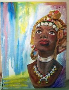 Ethnic Bust Statue Black Woman Headdress 12x16 Acrylic #Painting Penny StewArt #Realism
