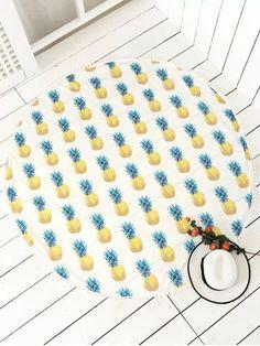 Pineapple Print Tassels Beach Throw - WHITE ONE SIZE
