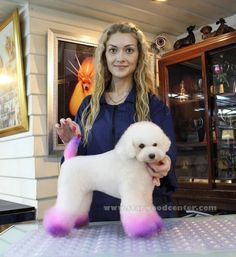 Love this so much creative fur coloring dog grooming purple paws and tail Dog Grooming Tools, Dog Grooming Styles, Creative Grooming, Dog Grooming Supplies, Poodle Grooming, Cat Grooming, Grooming Salon, Shih Tzu, Poodles
