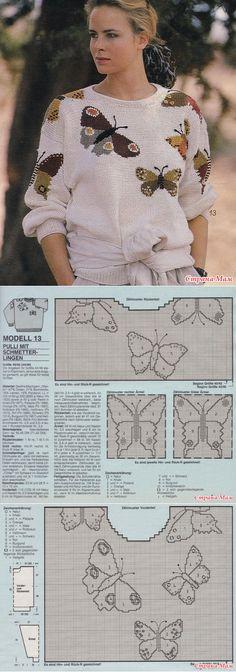 *Пуловеры и топ с бабочками - Жаккард - Страна Мам // Лена Р.