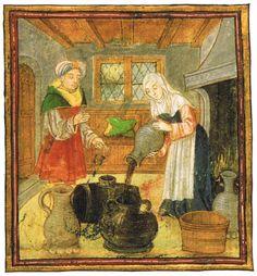 Una matrona conservant el vi