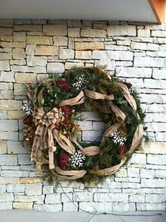 Large wreath by @housebyjsd at Heaven Hill Distillery!  MUST LOVE BURLAP!