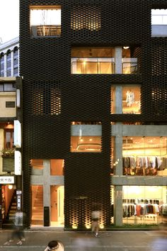Poroscape by Younghan Chung & studio Archiholic (3 transparency levels – 0%, 50%, and 100% – are created by shifting density of stacked and staggered bricks)