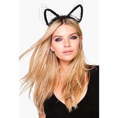 Boohoo Halloween Macie Polka Dot Cat Ear Headband ($8) ❤ liked on Polyvore featuring accessories, hair accessories, black, floral hair accessories, floral crown, chain headband, crown headband and bohemian headbands
