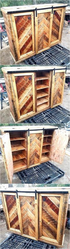 Pallets are best to create a furniture piece according to the requirement because a person is free to create as many drawers or hollow spaces in it as needed. For those who are in need of multiple areas in a single piece of furniture, we have the idea of recycled wood pallet entertainment center.