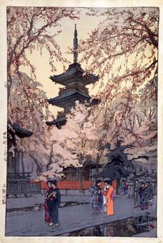 A Glimpse of Ueno Park, by Yoshida Hiroshi, date not set. See also at: http://gurafiku.tumblr.com/post/19234869859/japanese-art-a-glimpse-of-ueno-park-hiroshi