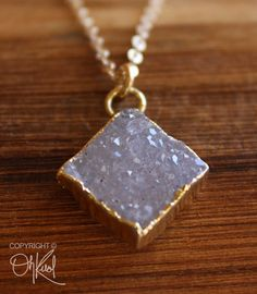 SALE Gold Mauve Druzy Necklace Diamond Pendant Agate by OhKuol