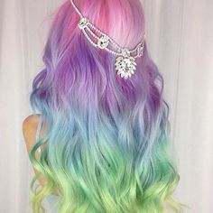 Unicorn Hair extensions, clip in pastel hair extensions, full set unicorn mermaid hair, pink hair clips, human hair - Rainbow Dyed Hair, Rainbow Pastel, Rainbow Hair Colors, Hair Colours, Pastel Colours, Dyed Hair Pastel, Pastel Green Hair, Pretty Pastel, Unicorn Hair Color