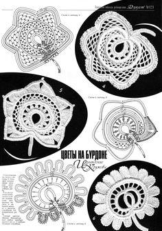 irish crochet motifs crochet home: Irish crochet Irish Crochet Tutorial, Irish Crochet Patterns, Crochet Flower Patterns, Crochet Diagram, Crochet Chart, Crochet Designs, Crochet Flowers, Freeform Crochet, Crochet Motif