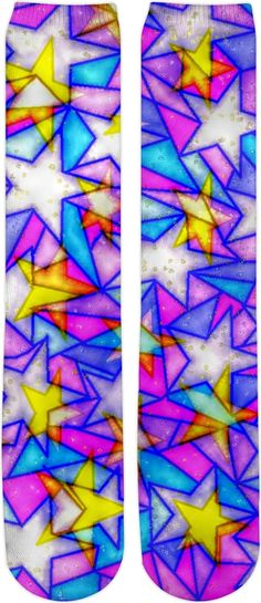 ddd12cd4849 Doubled Stars Stain Glass S4 Custom Knee High Socks