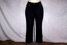ST. JOHN SPORT Sz 10 Pants Black Gold Logo Buttons Spandex Stretch 30 x 26 NWOT #StJohn #CasualPants