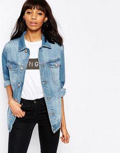 ASOS - Veste en jean style girlfriend à joli délavage vintage