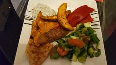 Chicken breast and sweet potato wedges