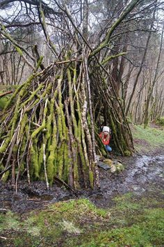 A magical play space made with nature - provide loose parts and the freedom to create.