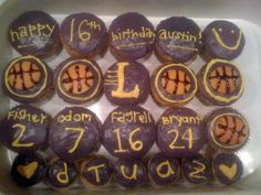 Laker cupcakes! basketballs made with nilla wafers and chocolate syrup.