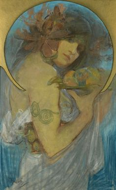 Alphonse (Alfons) Mucha - Illustration - Art Nouveau - Study of a Girl