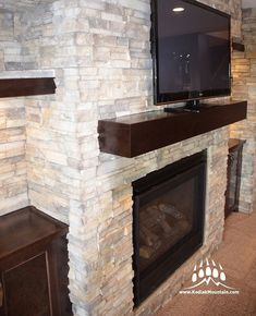 Beautiful fireplace in a custom home by @Empire.Homes of Lethbridge AB with our @creativemines Craft Chop Ledge (Color: Seapearl)⁠ ⁠ ⁠ -----⁠ www.KodiakMountain.com ⁠ -----⁠ Eldorado Stone, Manufactured Stone Veneer, Outdoor Kitchen Plans, Fireplace Remodel, Home Builders, Interior And Exterior, Interior Design, Custom Homes, Luxury Homes