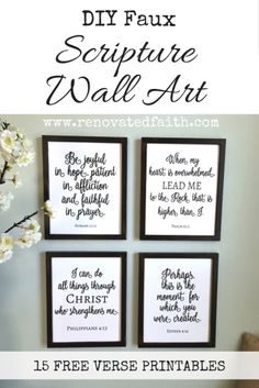 The Easy Way to Make DIY Painted Signs (Free Scripture Printables) diy-faux-scripture-wall-art Scripture Wall Art, Scripture Verses, Healing Scriptures, Healing Quotes, Scripture Crafts, Printable Bible Verses, Printable Wall Art, Diy Wall Art, Diy Wall Decor