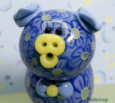 Buttercup Polymer Clay Piglet by TheWorldOfMerryBerry on Etsy, $10.00