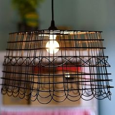 Wire Basket Becomes Lampshade