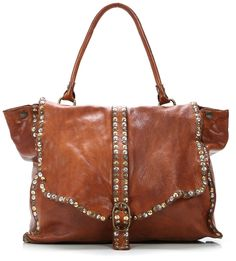 Campomaggi Lavata Satchel Leather in cognac - studded to perfection!
