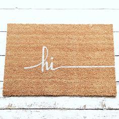 Hi Door Mat / Doormat Door Mat Welcome Mat Gift  // by LoRustique