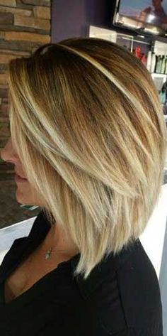 Shoulder length bob haircut.
