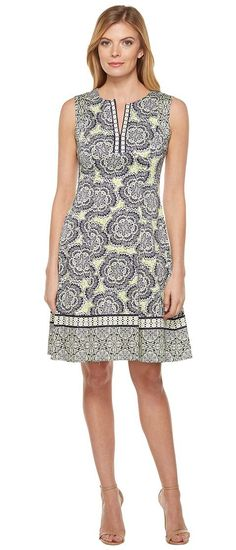 Maggy London Twin Etched Flower Cotton Fit and Flare Dress (Soft White/Spring Green) Women's Dress - Maggy London, Twin Etched Flower Cotton Fit and Flare Dress, G2871M-345, Apparel Top Dress, Dress, Top, Apparel, Clothes Clothing, Gift, - Street Fashion And Style Ideas