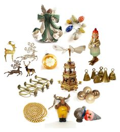 Vintage Christmas Decorations by patack on Polyvore featuring interior, interiors, interior design, home, home decor, interior decorating, Glässer and vintage