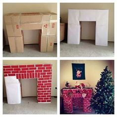 Build a cardboard fireplace to hang your Christmas stockings christmas fireplace Top 30 Lovely and Cheap DIY Christmas Crafts Sure to Wow You - HomeDesignInspired Christmas Hacks, Christmas Projects, Winter Christmas, Christmas Holidays, Christmas Room, Merry Christmas, Happy Holidays, Christmas Program, Father Christmas