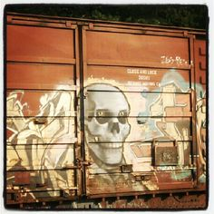 Graffiti on the side of a train car