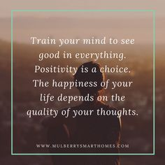 Positive thoughts for positive start to the week. Have a great week ahead! Train Your Mind, Great Week, Smart Home, Positive Thoughts, Everything, Mindfulness, Positivity, Homes, Happy