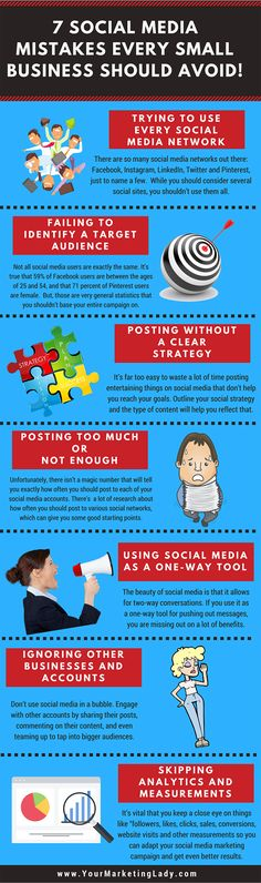 Here are 7 Social Media mistakes every small business should avoid. There's no question that social media marketing is a major tactic used by all kinds of small businesses. But, while many businesses see the value in social media marketing, not all of them are using social media effectively. Read the full post here: https://www.yourmarketinglady.com/7-social-media-mistakes-every-small-business-should-avoid/