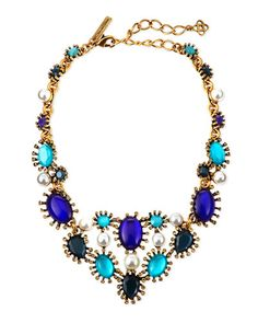 Y2C3P Oscar de la Renta Aqua Star Resin Bib Necklace