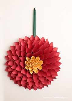 Paper Christmas Wreath – Poinsettia Inspired Dahlia - This paper christmas wreath is a dahlia flower inspired by the iconic christmas poinsettia. Less than $10 to make