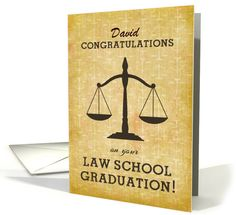 Law School Graduation Custom Personalized Name Congratulations, Scale card