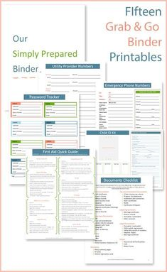 The most complete emergency binder (grab and go binder) available to print for free.  Recently upgraded from 5 to 15 printables.  Includes a checklist of all the important documents you need to gather, an evacuation checklist, multiple ID Forms, various emergency phone numbers lists, a first aid quick guide, a password tracker and more.  Plus, she will send you an additional amazing free printable or emergency tip each week!